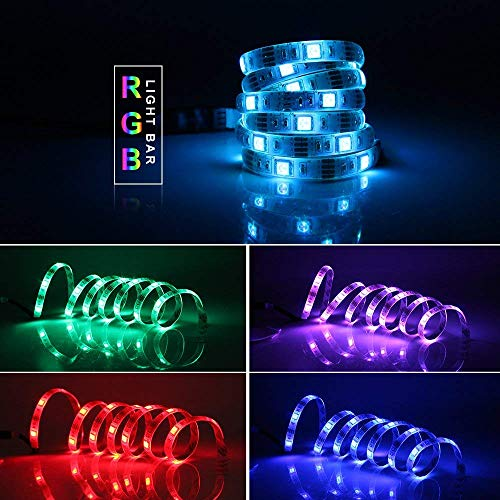 GOESWELL Led Strip Light 5050 30LEDs RGB Battery Powered Color Change SMD Led Strip 1M/3.3FT with Mini Controlle]()
