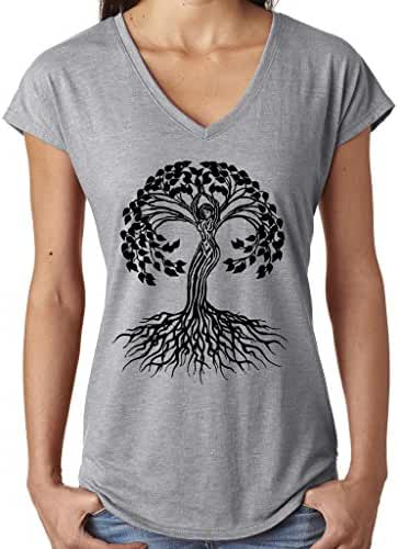 Yoga Clothing For You Ladies Celtic Tree of Life V-neck Tee