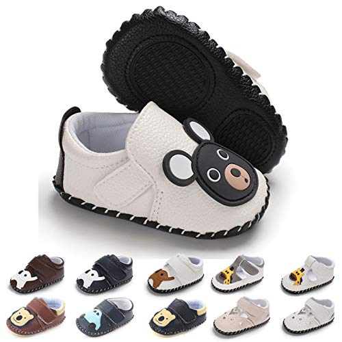 Birthday Boy Bear - BEBARFER Baby Boys Girls Shoes Cartoon Crawling Slippers Soft Moccasins Toddler Infant Crib Pre-Walkers First Walkers Shoes Sneakers (12-18 Months M US Infant, D-White Bear)