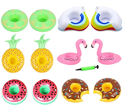 - Yuccer Inflatable Cup Holder, 12 Pack Flamingo Fruit Drink Floats Cup Coasters for Summer Pool Party and Kids Fun Bath Toys, 1 Free Air Pump