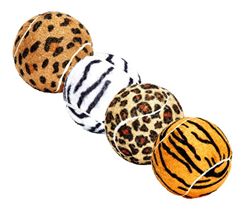 (Unique Dog Fetch Balls Animal Prints 4 Pack)