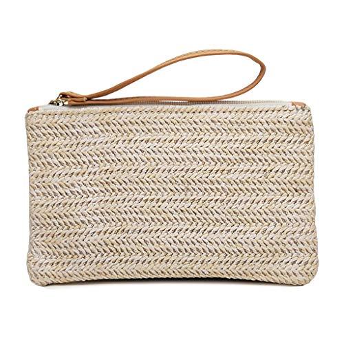 - Kangma Women Woven Bag Beach Handbag Zipper Coin Purse Small Wallet Handmade Totes
