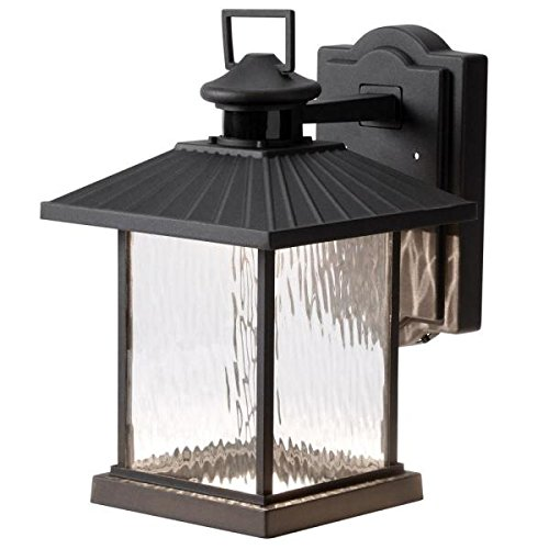 Hampton Bay Lumsden Wall-mount Outdoor Black LED Motion Sensor - Outdoor Lantern Wall Mount Black
