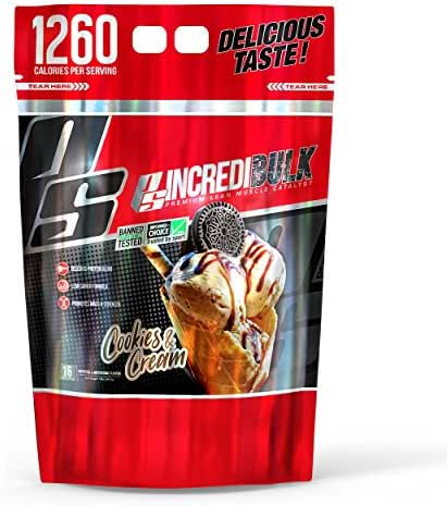 ProSupps IncrediBULK – Dual-Source Whey Protein Blend – Super Weight Gainer Formula, Cookies & Cream – For Hard Gainers – 1230 Calories per Serving – 4 Delicious Flavor Options