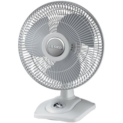Lasko D12900 Oscillating Premium Table Fan, 12'', Light Grey by Lasko