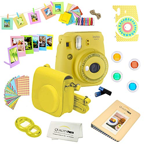 Fujifilm Instax Mini 9 Camera + 14 PC Instax Accessories kit Bundle, Includes; Instax Case + Album + Frames & Stickers + Lens Filters + More (Yellow)