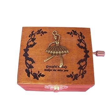 YTYRTIK Caja de música de Madera Antigua Caja de música de manivela Exquisita Patrón Decorativo Hermoso Vintage, D: Amazon.es: Hogar