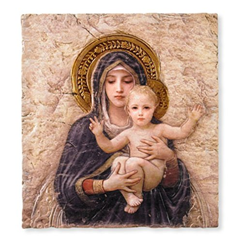 Madonna with Child Christ Icon 10 Inch Painted Resin Wall - Plaques Wall Catholic