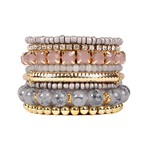 Stretch Bead Bracelet Set (RIAH FASHION Multi Color Stretch Beaded Stackable Bracelets - Layering Bead Strand Statement Bangles ([S-M] Light Grey))