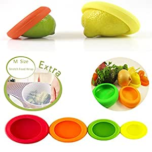 Reusable Silicone Food Savers & FREE Silicone Food Wrap! Fruit and Vegetable Huggers,Storage Containers, Set of 4 and 1 Silicone wrap, BPA-Free. (Assorted Colors)
