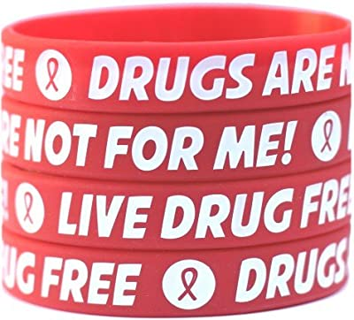 100 Live Drug Free Wristbands - Drugs are Not for Me Bracelets - Red Ribbon Week Bands