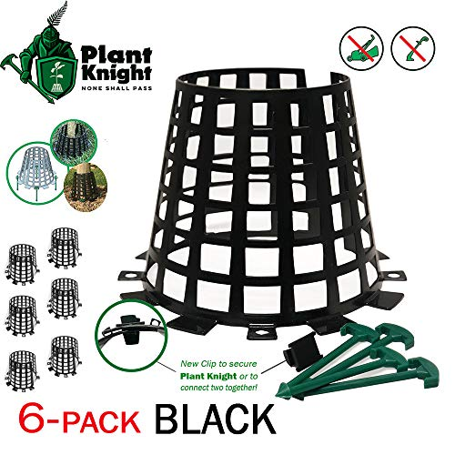 Plant and tree guard and protector for trees, plants, saplings, landscape lights, lamp posts, more; expandable for larger trees and plants; provides protection from trimmers, weed whackers ()