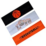 Funny Girl Designs Basketball Player Set of 3 Cotton Stretch Sport Headbands from