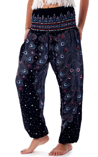 Black Harem Pants for Women in Boho Hippie Plume Print - Authentic Thai Genie Yoga Pants - Medium ()