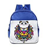 XJBD Custom Funny Good Luck Panda Kids School Bag For 1-6 Years Old RoyalBlue