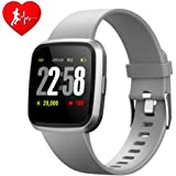 H4 Fitness Health 2in1 Smart Watch for Men Women Smartwatch with All-Day Heart Rate/Blood Pressure/Sleep Monitor IP67 Waterproof Sports Activitity Tracker Bluetooth Watch (Grey)