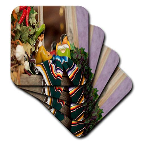 3dRose CST_52086_1 Hispanic Boy and Girl Ceramic Hanging on A Mirror with Hot Chilis and Leaves at Mexican Restaurant-Soft Coasters, Set of 4