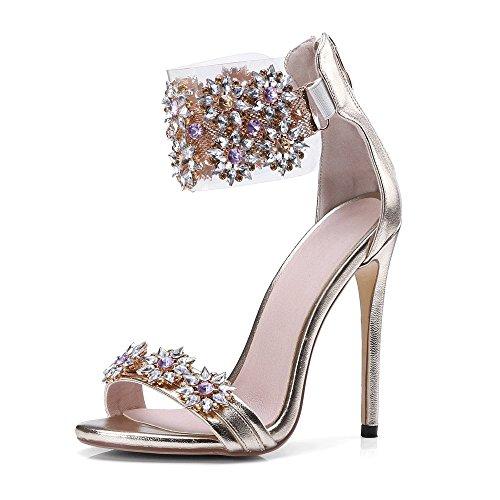 JF Women's Rhinestone Flower Crystal Peep Toe Wedding Dress High Heel Sandals (US 9.5-10, - High Heel Jeweled