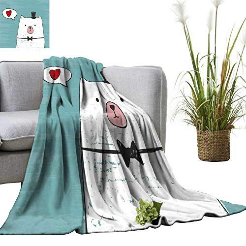 (YOYI Digital Printing Blanket White Bear hat Bow tie Think About Love on a Scratch Better Deeper Sleep)