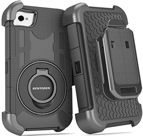 iPhone 4S Case, iPhone 4 Case, BENTOBEN Shockproof Heavy Duty Protection Hybrid Rugged Rubber Built-in Rotating Kickstand Belt Swivel Clip Holster for iPhone 4 4S,Black (Iphone 4 Case With Clip compare prices)