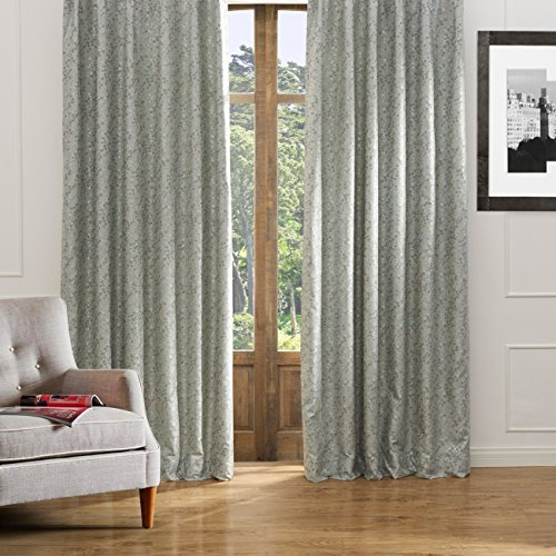 KoTing Little Flowers Curtains Room Darkening Drapes 1 Panel Solid Gray-Green Curtains Grommet 42 inch Wide 96 inch Long
