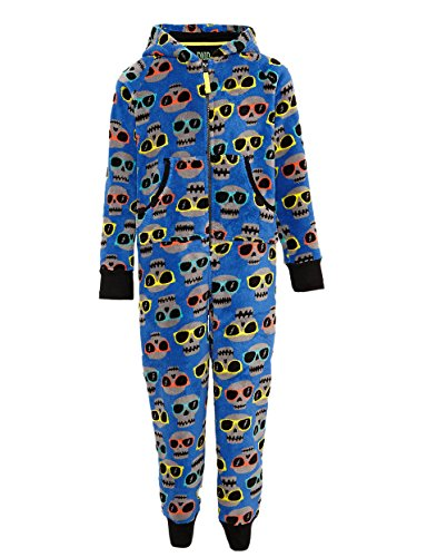 Boys Ex M&S Blue all in one sleeper skull & glasses Age 6-7 upto 15-16 years (7-8 Years)