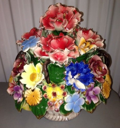 Capodimonte Style Ceramic Flower Basket