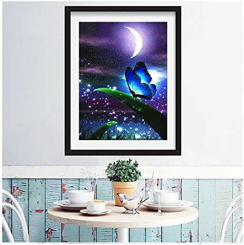 3ABOY 5D Butterfly Diamond Painting Kit for Adults or Kids ,Full Drill Paint with Diamond Art Animal Butterfly Painting through Number Kits Home Wall Decor (11.8X15.7inch)