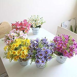 Charmly Artificial Flowers Potted European Style Design Silk Daisy Arrangements House Office Restaurant Table Centerpieces Windowsill Decor Daisy-White 3