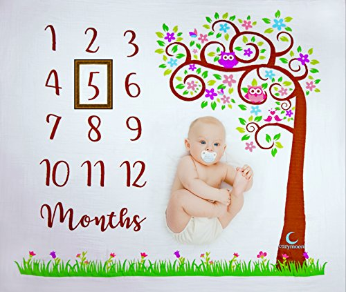 Baby Monthly Milestone Blanket | Unisex: Baby Boys & Girls | Tree & Owls Design | 100% Organic Cotton | Newborn Photo Prop | Nap & Swaddle Blanket | Perfect Baby Shower Gift | 100% Hypoallergenic -
