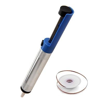 Desoldador de Estaño Limpiador de Soldadura Bomba Desoldadora Aspirador + Malla de Desoldadura , Electrónica Rey