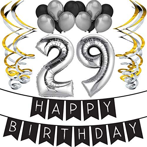 Sterling James Co. 29th Birthday Party Pack - Black & Silver Happy Birthday Bunting, Balloon, and Swirls Pack- Birthday Decorations - 29th Birthday Party Supplies ()