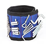 Magnetic Wristband, elincamp 15 Magnets Armband Working Tool for Holding Screws, Nails, Drill Bits, Breathable Material DIY Gift for Handyman Women (blue)