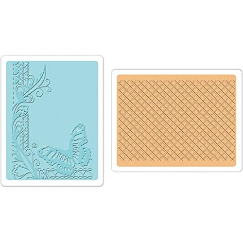 Sizzix Textured Impressions A6 Embossing Folders, Butterfly and Lattice, 2-Pack