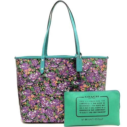Coach F57667 Reversible City Tote In Rose Meadow Print Violet Multi Black by Coach (Image #3)