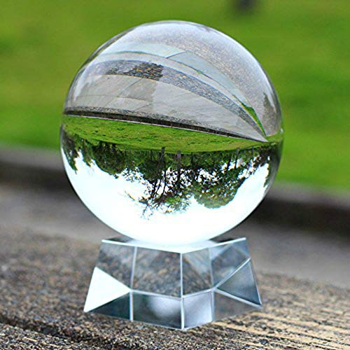 (SunAngel Clear Crystal Ball Art Decor K9 Crystal Prop for Photography Decoration (90MM with Crystal)