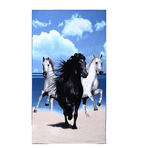 Beach Towel Oversized Horse Print 40x70 in Microfiber Bath S