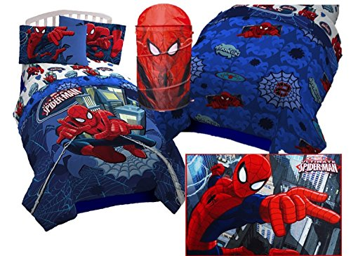 7 Piece Spiderman Bundle of a Twin Reversable Comforter, Rug, Hamper, Facecloth, Sheet Set with To/From mini Card and Envelope to use as a perfect Gift Set (Goodie Hampers)