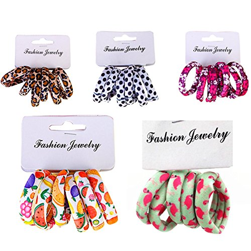 (Women or Girls Hair Accessories Leopard Dot Elastic Headband Fruit Ponytail Holders 1CM for Thick Heavy and Curly Hair 30 Pieces/Set)
