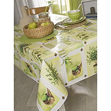 CALITEX Rectangular Oilcloth Tablecloth 140 X 250 Cm Olive Green Provence