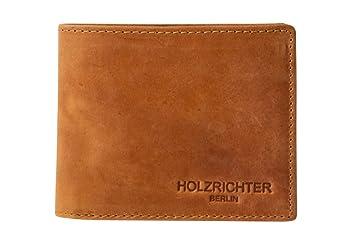 ece382259bad1 HOLZRICHTER Berlin Premium Geldbörse aus Leder (M) - Handgefertigtes  Portemonnaie für Herren Quer -