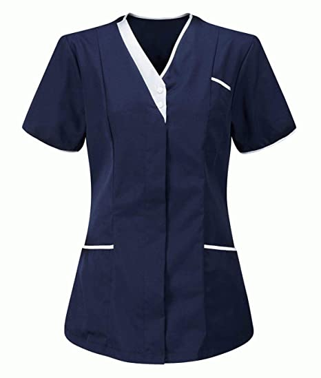 Workwear World Ladies Contrast Trimmed V Neck Healthcare Medical Dentist Vets Work Wear Tunic