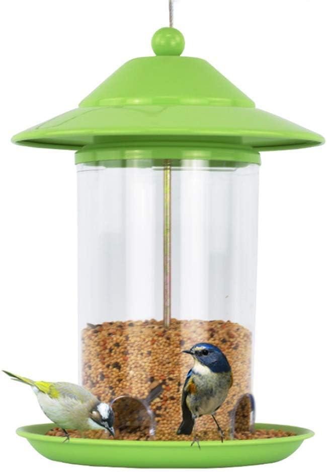 QHWJ Colgando de la semilla del alimentador del pájaro, la estación de alimentador del pájaro de Metal Verde para el jardín, Patio y al Aire Libre