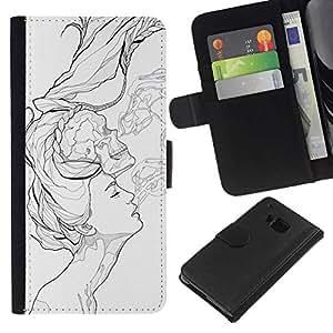 NEECELL GIFT forCITY // Billetera de cuero Caso Cubierta de protección Carcasa / Leather Wallet Case for HTC One M9 // Arte pop negro