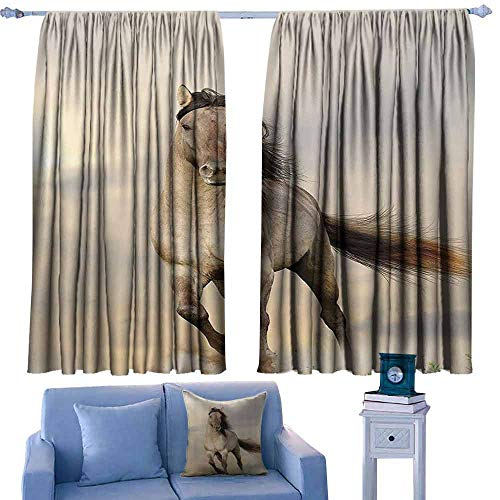 DONEECKL Heat Insulation Curtain Animal Decor Collection Wild Young Stallion Horse Running at Sunset Male Power Nake Muscular Physique Nobility Photo Tie Up Window Drapes Living Room W63 xL72 Biege
