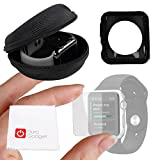 DURAGADGET Exclusive Apple iWatch Custom Bundle - Hard Shell EVA Storage Case for NEW 2015 Apple Watch, Sport & Edition (42mm), Plus Black 42mm TPU Cover AND 42mm Screen Protector!