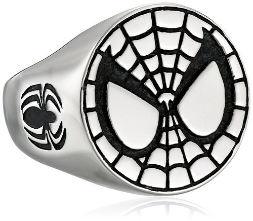 Marvel Comics Unisex Spider-Man Stainless Steel Ring, Size 8