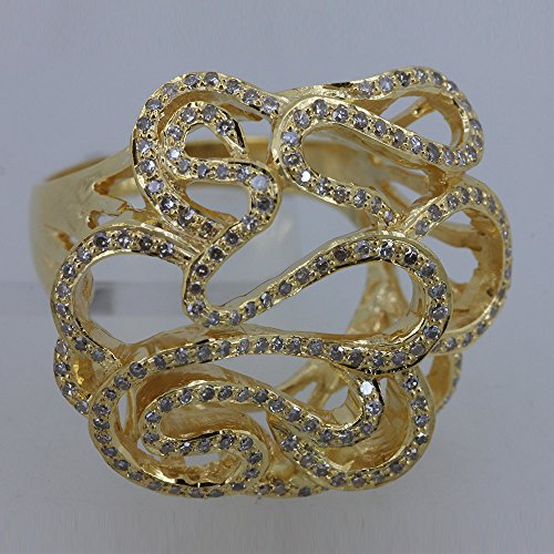 Solid 18k Yellow Gold Floral Design Wedding Ring Natural Pave Diamond Fine Jewelry