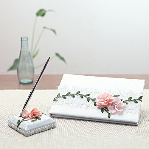 KateMelon Lace and Fabric Flower Wedding Guest Book and Pen (Lace Wedding Guest Book)