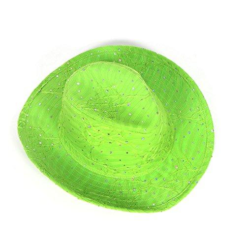SERENITA Cowboy Cowgirl Wide Brim Fedora Hat, Stripe Lime, 1920s ()